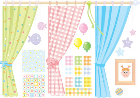 Babys room,   elements for design, small girl.