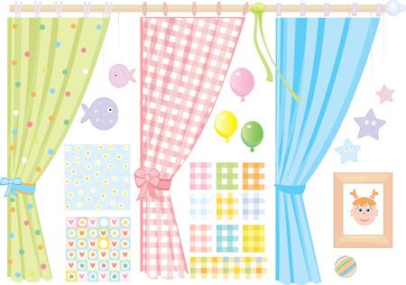 Habitación del bebé, elementos para el diseño, la niña pequeña. Ilustración de vector