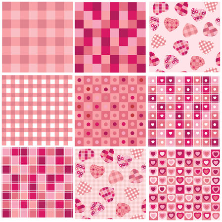 Cute seamless backgrounds for Valentines day design.  Vector