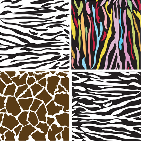 Seamless animal patterns of tiger, giraffe and zebra.  Vector