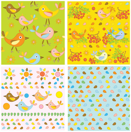 Cute seamless  patterns with birds. Vector