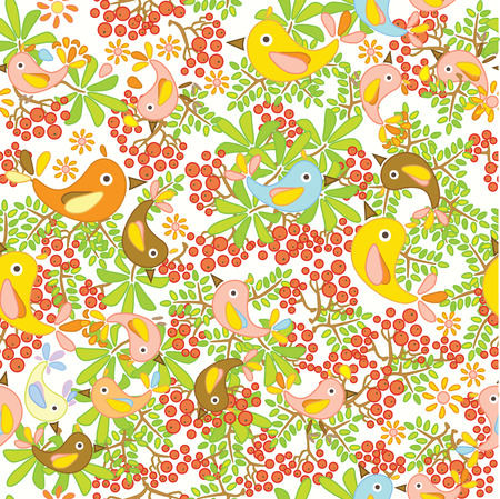 Cute seamless  pattern with birds. Vector