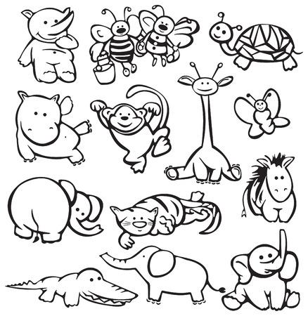 silueta mono: Siluetas de animales.  Vectores
