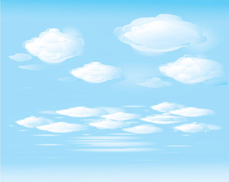 puffy: blue sky and white clouds