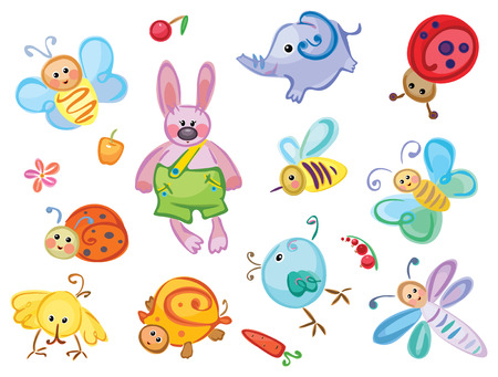 Cute animals and insects for your design. Vector