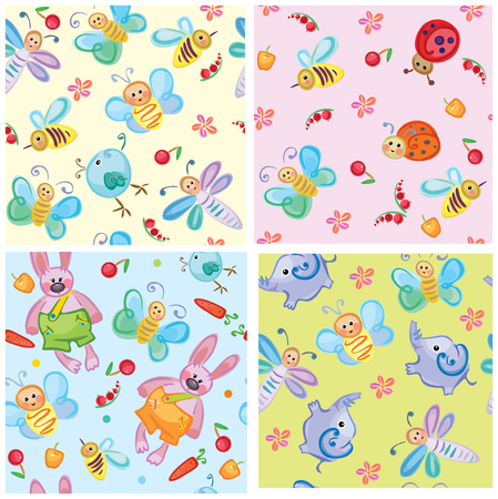 Cute seamless patterns of animals and insects for your design. Vector