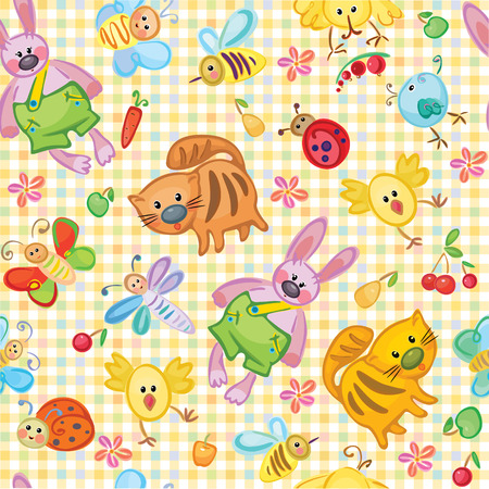 Cute seamless animals pattern for your design. Vector