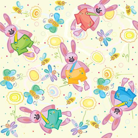 Seamless pattern of cute rabbit Vector