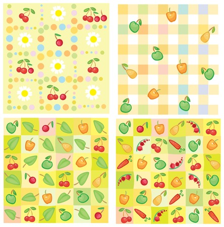 Cute seamless patterns of berries and fruts for your design. Vector