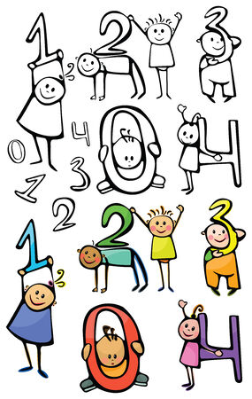 01234 fun numbers, kids are holding numbers. Vector