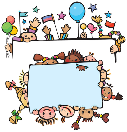 Happy kids standing by   blanks Stock Vector - 7097983