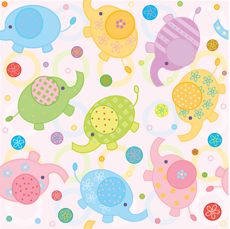Cute background , small baby elephants Stock Vector - 7181677