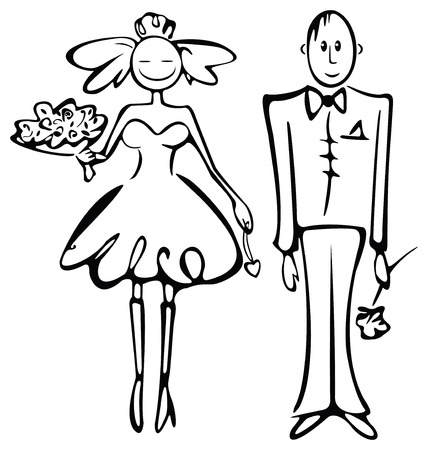 bride silhouette: Silhouette of bride and groom.