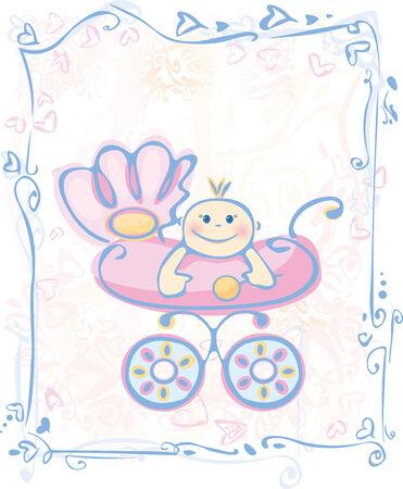stroller: Cute card for baby girl.