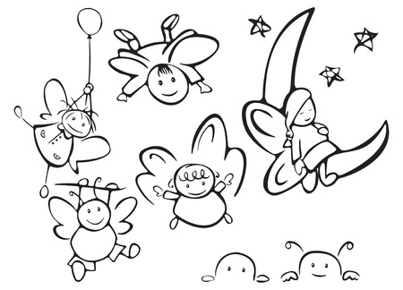Set of cute angels for design Vector