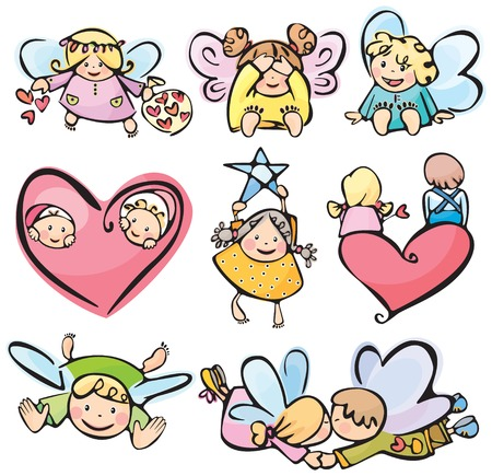 Cute angels for your design. Vector
