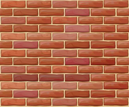 brickwall: Pared de ladrillo transparente de vector hechas de ladrillos rojos de diferentes colores.  Vectores