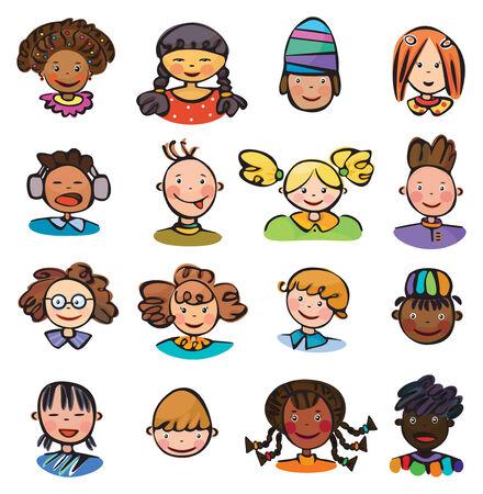 Kids gezichten. Vector Illustratie
