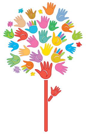Abstract tree made of  color print hands Stock Vector - 7369821