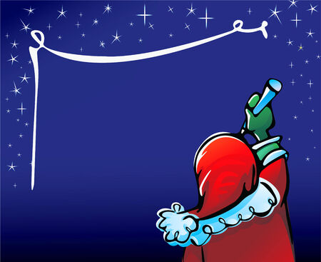 Santa Claus writes greeting on sky, Christmas card for your design Vector