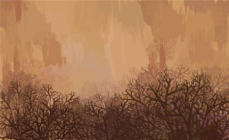 Autumn landscape in brown colors Vector