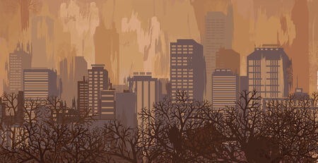 autumn in the city: Autumn landscape in brown colors, city skyline