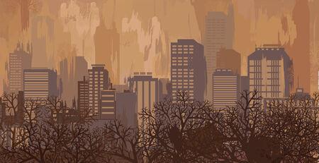 Herfst landschap in bruine kleuren, skyline van de stad
