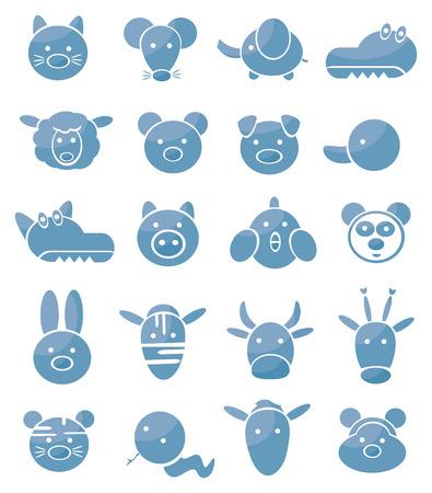silueta mono: Conjunto de iconos, animales lindos