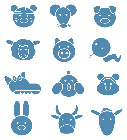 Icons of cute animals, funny horoscope. Vector
