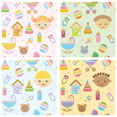 seamless, fun baby patterns, babies different races Vector