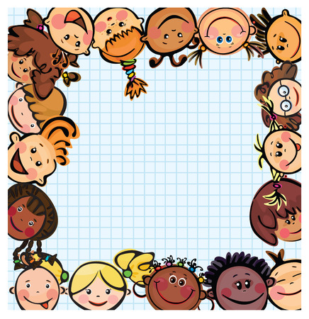 Frame , kid's faces different races Stock Vector - 7763006