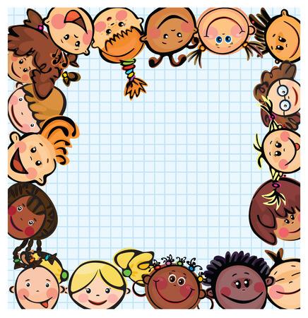 caucasians: Telaio, bambini facce diverse razze  Vettoriali