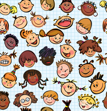 Vector seamless pattern of kids faces different races