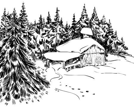 Handdrawing of winter landscape Stock Vector - 7565412