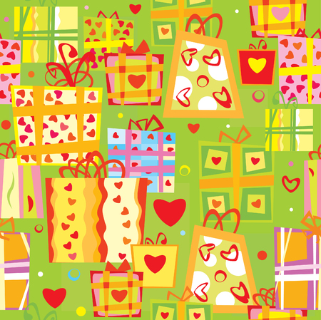 seamless pattern  of gifts.   Vector
