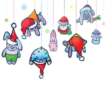 Christmas card of  cute hang rabbits,  Santa and snowman Vector