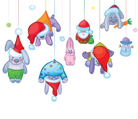 Tarjeta de Navidad de conejos de Lindos se bloquea, Santa y mu�eco de nieve  Foto de archivo - 7612920