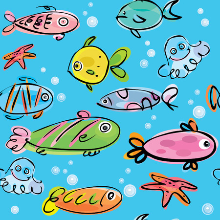 Seamless pattern  of cute fishes Stock Vector - 7684983