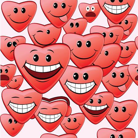 wallpaperrn: Seamless pattern of fun hearts  Illustration