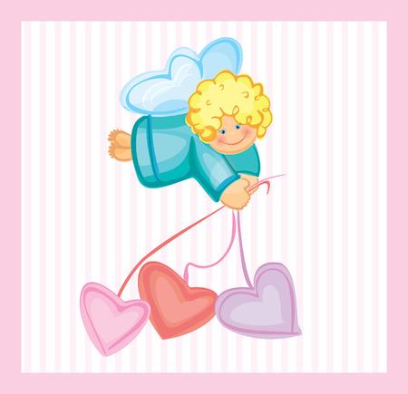angel birthday: Cute card of small angel.