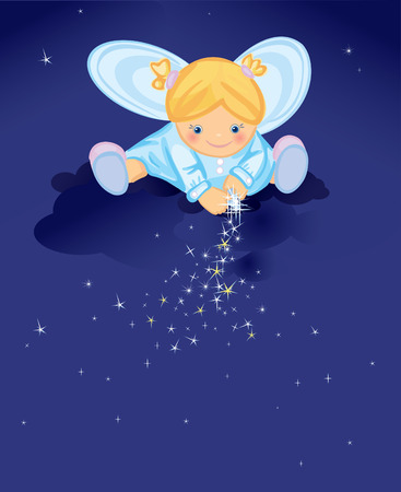 Cute angel with stars  Vector