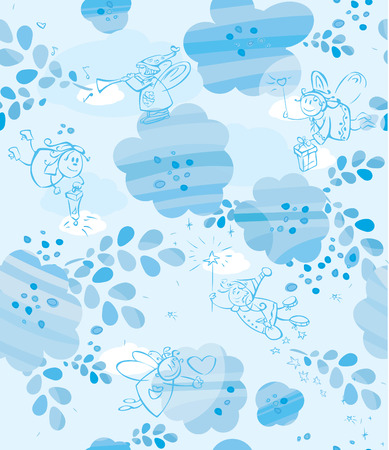 Seamless pattern of cute angels in blue. Vector