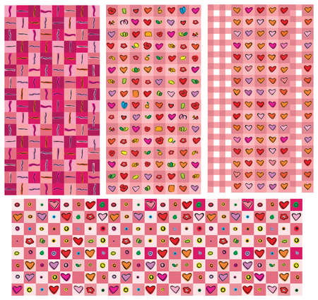 Seamless backgrounds for Valentines day design. Vector