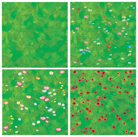 Seamless texture of grass and grass with flowers.