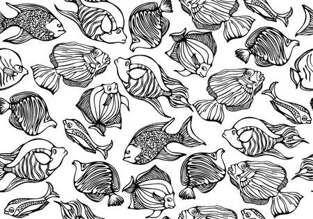 Seamless pattern of fishes. Vector