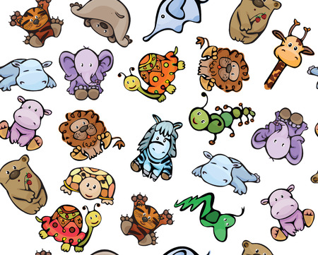 Seamless pattern of cute baby animals  Vector