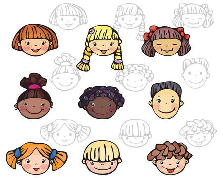 nice girls: Kids faces, color and silhouettes  Illustration