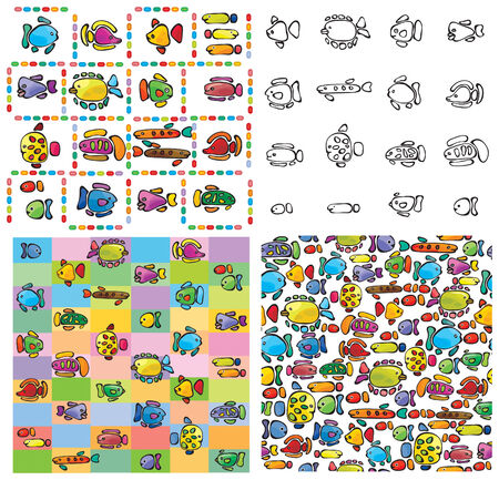 Seamless pattern of cute fishes Stock Vector - 8613396