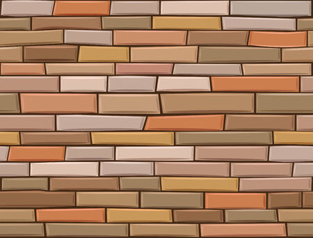 seamless brick wall made of brown bricks different colors.  Vector