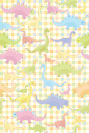 Seamless pattern of cute dinosaurs  Vector